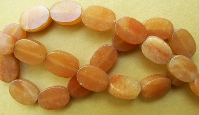 "Carnelian Beads Flat Ovals 10x14mm 5mm thick 16"" strands"