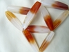 "Carnelian Bead Long Triangle Tubes 12x40mm 15"" strands"