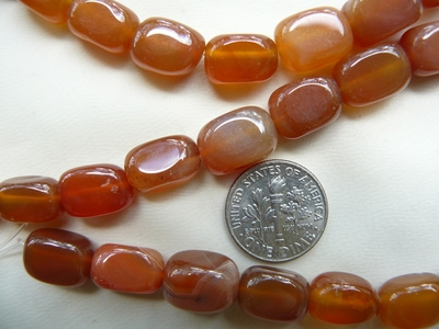 "Carnelian Beads  Rounded Cubes 9x12mm 16"" strands"