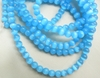 "Cats Eye Light Blue Fiber Optic Beads 4mm 16"" Strands"