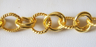 Chain by the Foot - 10mm Twisted Links - 24KT Gold Over Copper<br>GCBKCH-011
