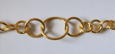 Chain by the Foot - 7-12mm Graduated Links - 24KT Gold Over Copper<br>GCBKCH-036