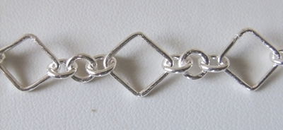 Chain by the Foot - 12mm Squares w/ 6mm Links - .999 Silver Over Copper<br>SCBKCH-021 -