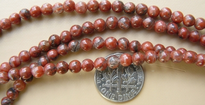"Chinese Red Jade Beads 4mm round Natural 16"" strands"
