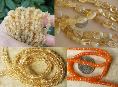 "Citrine Beads many different cuts and shapes 16"" strands"