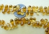 "Citrine beads 4x6mm Drops 14"" strand side drilled"
