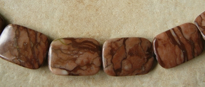 "Coco Jasper Rounded flat Rectangles 18x25mm 16"" strand"