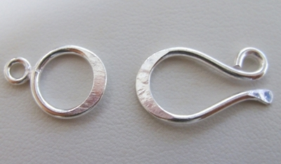 Contemporary Hook and Eye Clasp- 12x20mm Hook w/ 12mm Eye - 7 Clasps - .999 Silver Over Copper