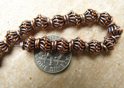 Copper Basket Bead Caps 10MM over 40 bead caps