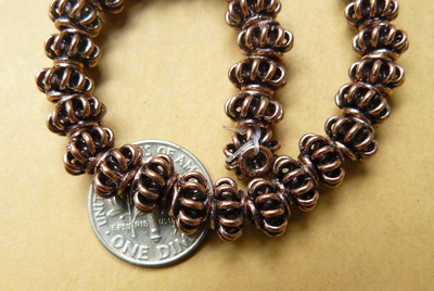 Copper bead 5x8mm wire basket design 40 beads