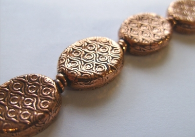 Textured Bead - 20x15mm - 10 Beads - Copper<br>CO104