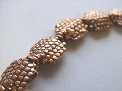 Textured Bead - 12x10mm - 17 Beads - Copper<br>CO58