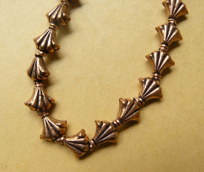 Copper Fan Bead 10x10mm - 20 Beads CO94