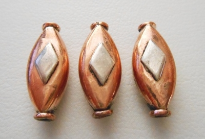 Silver Accent Bead - 7x16mm - 3 Beads - Copper<br>CB27