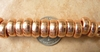 Copper beads 6x14mm with larger 5mm hole Bright finish
