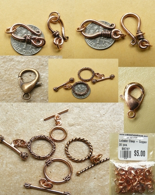 Copper Clasps toggles and closers