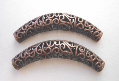 Filigree Tube Bead - 60x12mm - 2 Beads - Copper<br>RLF10634Y-NF
