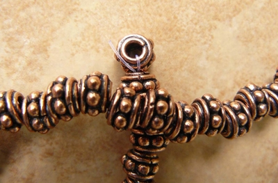 Copper larger hole bead 6x8mm 3mm hole 36 beads