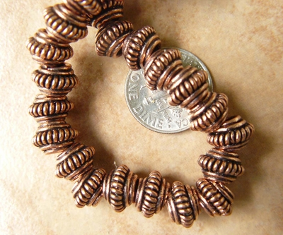 Copper larger hole beads 6x9mm with 3mm hole 35 beads