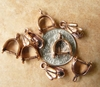 Copper pinch bails 21 pieces 7x10mm 3 finger design