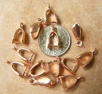 Copper smooth pinch bails 18 pieces 5x11mm