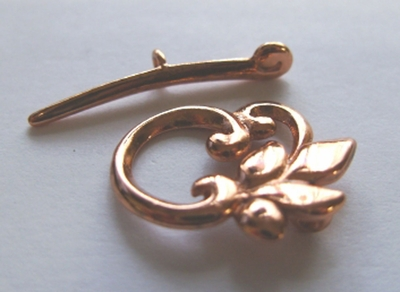 Copper Leaf Toggle 18x22mm w/30mm Bar 1 Clasp 5190CO