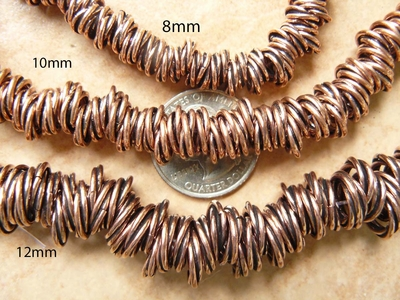 "Copper twisted beads 8mm 8 strands 8"" strands"