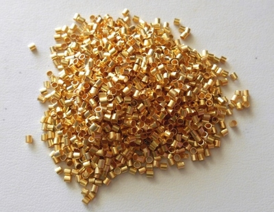 Crimp Tubes - 2mm - Approx 750 pcs. - 24Kt. Gold Over Copper<BR>GCCT2M