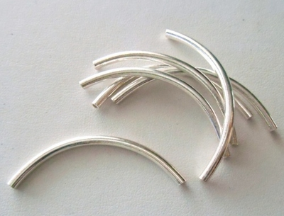 Curved Tubes - Sterling Silver -