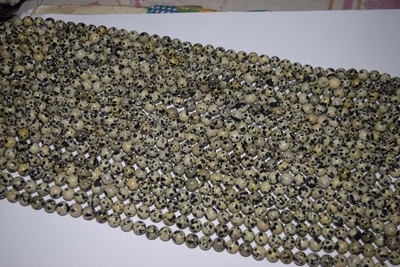 "Dalmation Jasper Mala beads 8.5 to 9mm Round 14"" strands"