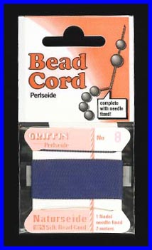 Dark Blue 100% Silk Bead Cord
