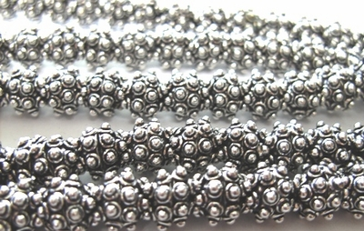 Dot Detail Bead Bap - 6mm - 56 Caps - .999 Silver Over Copper