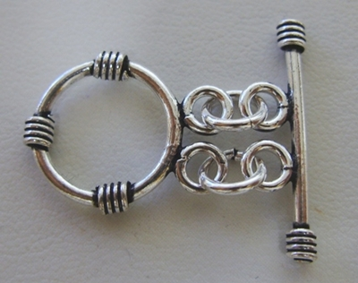 Double Strand Toggle - 15mm Circle w/ 25mm - 5 Clasps - .999 Silver Over Copper