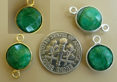 Emerald Quartz faceted gems with 1 or 2 loops silver or gold