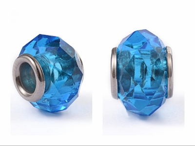 Faceted Abacus Glass European Large Hole Beads, with 304 Stainless Steel Core, DodgerBlue, 14x9.5mm, Hole: 5mm