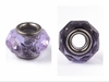 Faceted Abacus Glass European Large Hole Beads, with 304 Stainless Steel Core, Medium Purple, 14x9.5mm, Hole: 5mm