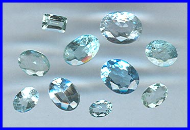 Faceted Aqua & Blue Topaz Gemstones