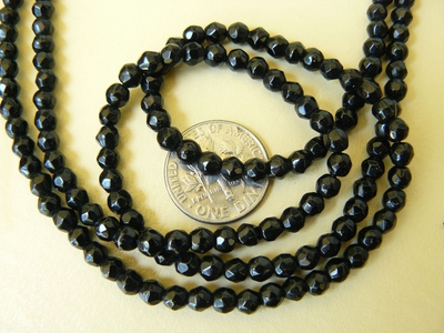 Faceted Black Onyx 4mm sparkeling Beads