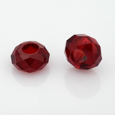 Faceted Glass Beads, Large Hole Rondelle Beads, DarkRed, 14x8mm, Hole: 6mm