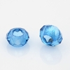 Faceted Glass Beads, Large Hole Rondelle Beads, DodgerBlue, 14x8mm, Hole: 6mm