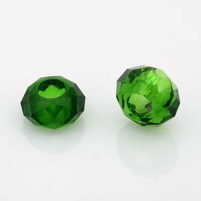 Faceted Glass Beads, Large Hole Rondelle Beads, Green, 14x8mm, Hole: 6mm