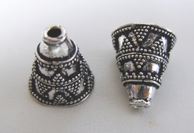 Fancy Cone - 16mm - 4 Pieces - .999 Silver Over Copper