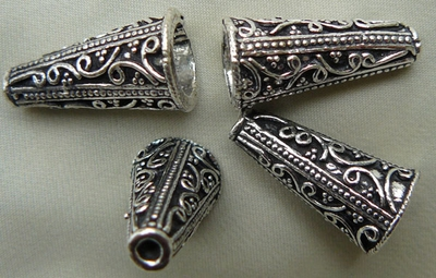 Fancy Cone - 20mm - 4 Pieces - .999 Silver Over Copper