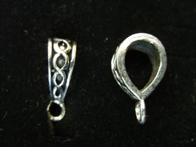 Fancy Design Fixed Bail - 10x20mm - 7 Pieces - .999 Silver Over Copper