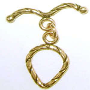 Fancy Detail Drop Toggle - 15x19mm Drop w/ 26mm Bar - 6 sets - 24Kt. Gold Over Copper