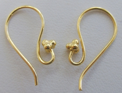 Fancy Detail Fishhook Ear Wire - 22 ga - 15 Pairs - 24KT Gold Over Copper
