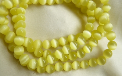 "Fiber Optic Yellow 4 and 6mm Beads 16"" Strands"