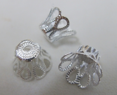 Filigree End Cap - 10mm - 40 Pieces - .999 Silver Over Copper