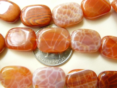 "Fire Agate Rounded Rectangles 13x18x6mm 16"" strands"