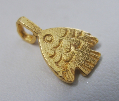 Fish Glue-On Bail - 10x10mm - 17 Pieces - 24Kt. Gold Over Copper